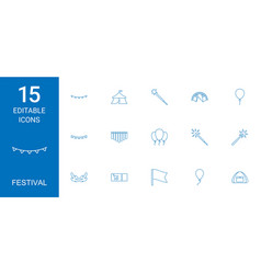 15 festival icons vector image