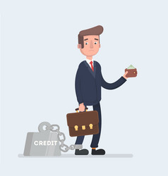 a business man is chained to his big heavy loan vector image