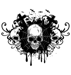 abstract background and three skulls vector image