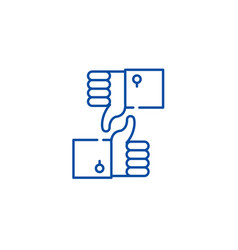 approval and rejection line icon concept approval vector image