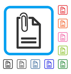 attached document framed icon vector image