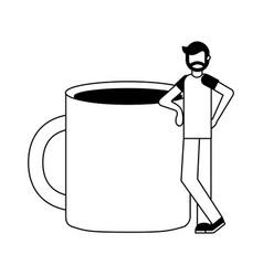 bearded man standing near coffee cup vector image