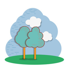 Beautiful cloud and trees icon vector