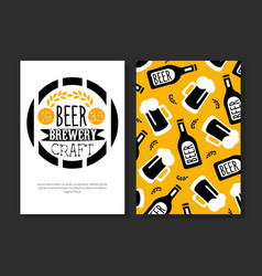 beer brewery craft card template beer festival vector image
