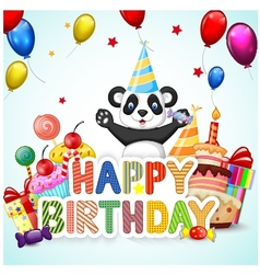 Birthday background with happy panda vector