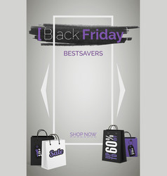 black friday bestsavers 3d web banner vector image