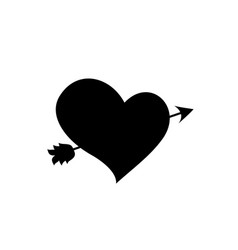 black silhouette of heart pierced with arrow on vector image