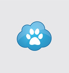Blue cloud cat footprint vector image