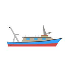 boat fishing fish sea ship marine flat icon vector image vector image
