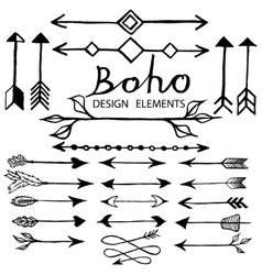 Boho doodle design elements vector