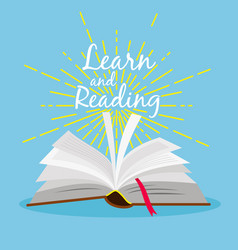 book learn poster open book with gold star linear vector image