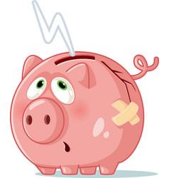 Broke piggy bank cartoon vector