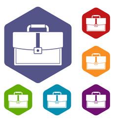 Business briefcase icons set hexagon vector