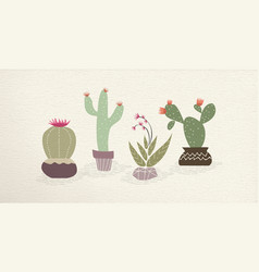 Cactus mexican art plant decoration set vector