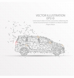 Car low poly wire frame on white background vector