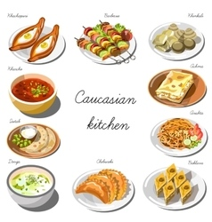 Caucasian cuisine set Collection of food dishes vector image