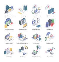 Cloud service isometric icons vector