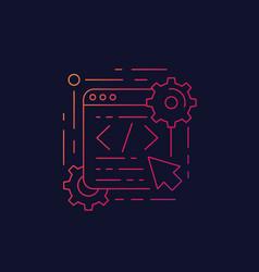 Coding web design and app development linear icon vector