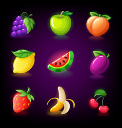 colorful fruit slots icon set for casino slot vector image
