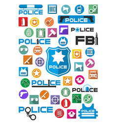 colorful police icons and logos set vector image