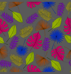 colorful tropical palm leaf seamless pattern grey vector image