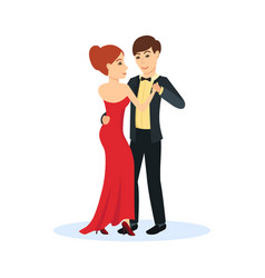 Couple in evening clothes dance gentle dance vector