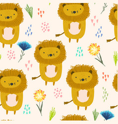 cute cartoon pattern with lions dots and flowers vector image