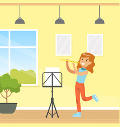 cute girl playing flute kid education and hobby vector image