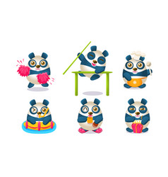 cute pandas characters set adorable humanized vector image