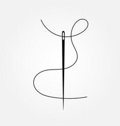 dark gray needle with wavy thread icon vector image