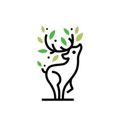 deer tree leaf monoline logo icon vector image