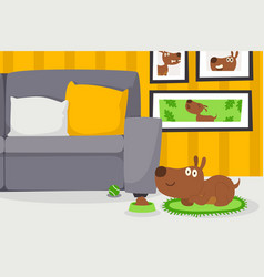 dog in apartment living room vector image
