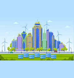 eco city concept smart city landscape urban vector image