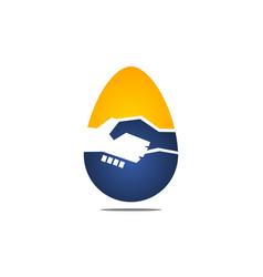 Egg deal handshake vector
