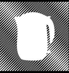 Electric kettle sign icon hole in moire vector