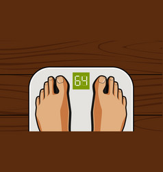 feet on weighing scales lose weight diet vector image