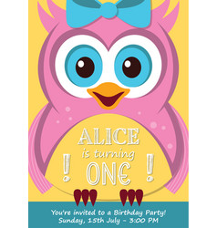 First birthday party invitation card vector