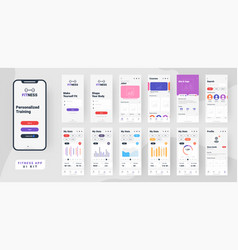 Fitness mobile app material design with different vector