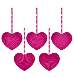 Five Hanging Hearts vector image