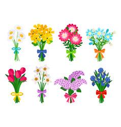 Fresh flowers bouquets summer bouquet set vector