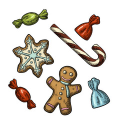 gingerbread man star candy cane vintage vector image