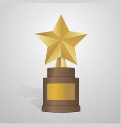 golden star award on brown base gold trophy vector image