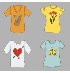 Hand drawing women T-shirts with print vector