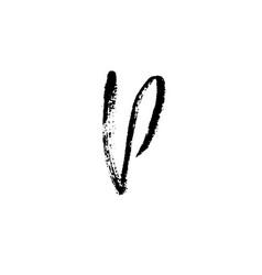 hand painted letter p dry brush modern lettering vector image