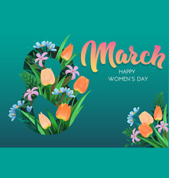 happy womens day flyer congratulation card march vector image