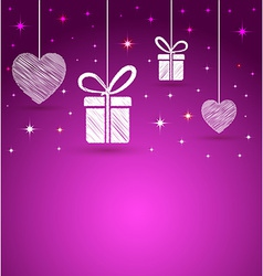 hearts and gift box shape greeting card vector image
