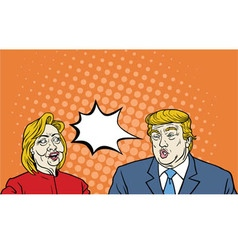 Hillary Clinton Versus Donald Trump Debate Pop Art vector