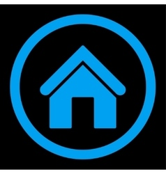 Home flat blue color rounded icon vector