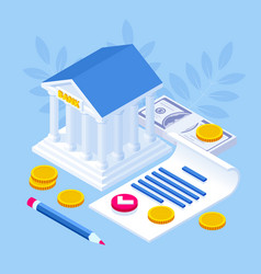 Isometric concept banking loan money loans vector