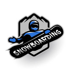 jumping snowboarder sport logo vector image